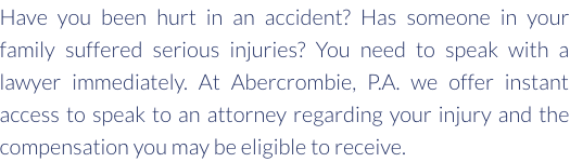 Serious injuries, accidents...